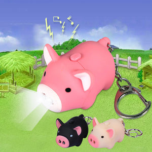 Pig Keychain With LED Flashlight