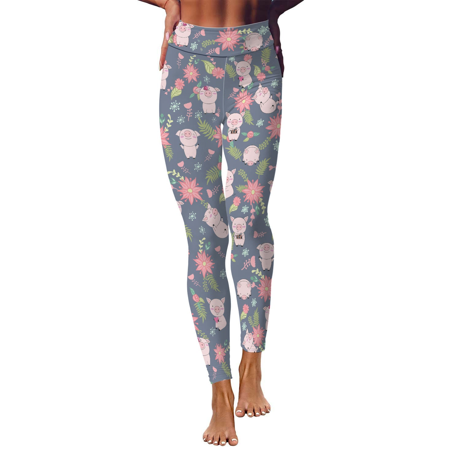 Piggy Floral Yoga Leggings