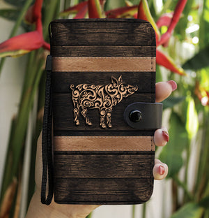 Tribal Pig Style Phone Wallet Case
