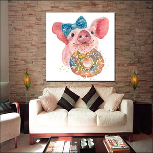 Cute Piggy Oil Painting