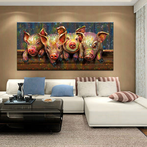 Piggies Canvas Painting