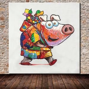 Cartoon Piggy Canvas Painting