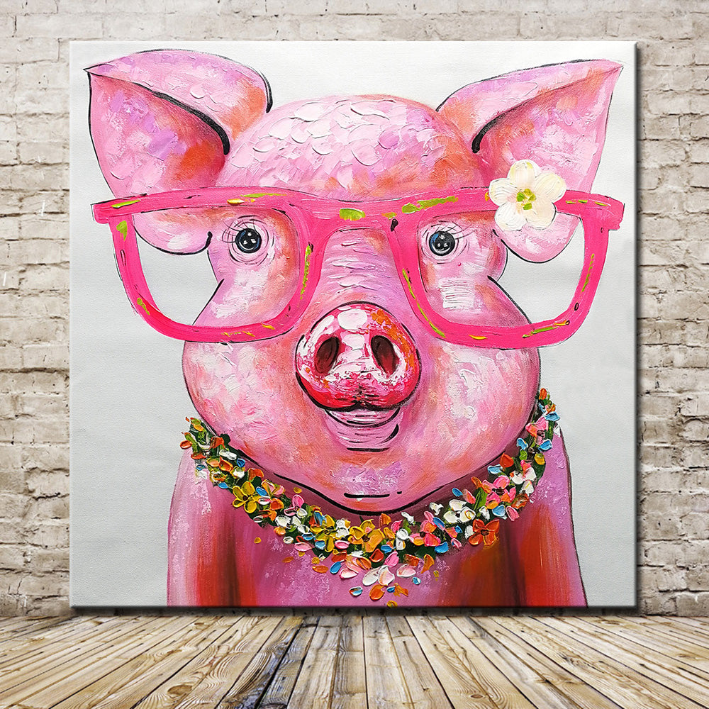 Pink Piggy With Glasses Canvas Painting Piggies Can Fly