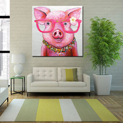 Pink piggy with glasses canvas painting
