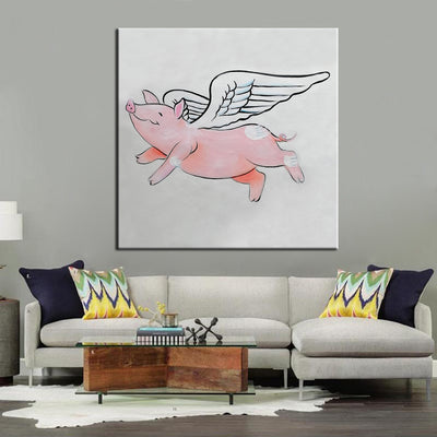 Flying piggy canvas painting