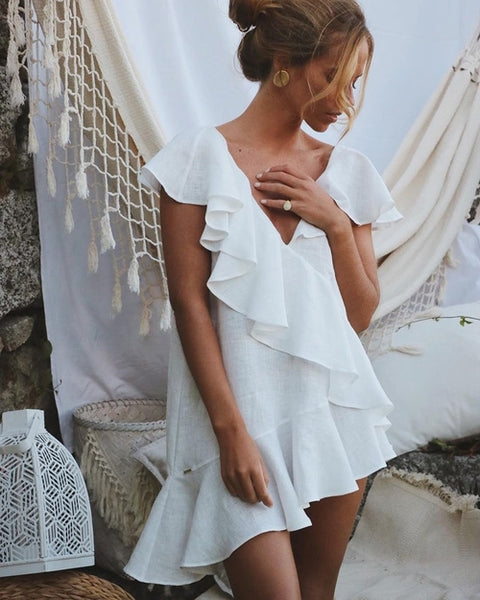 Sexy White Ruffle Beach Dress Cover up