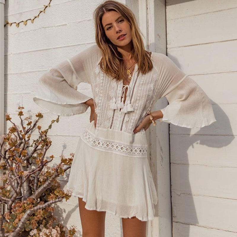WHITE TASSEL BEACH DRESS OR COVER-UP