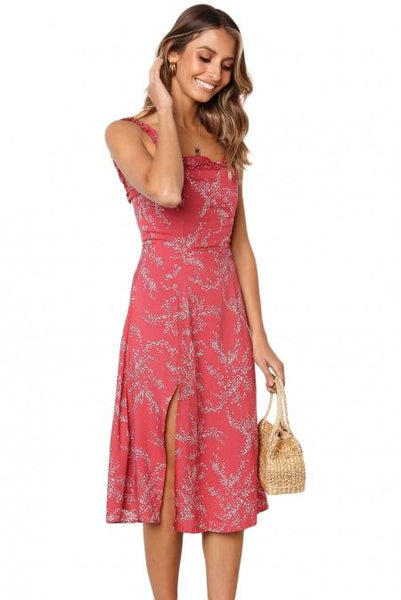 Red Botanical Print Summer Dress