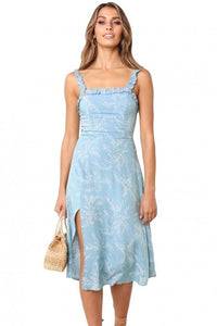 Sky Blue Botanical Print Summer Dress