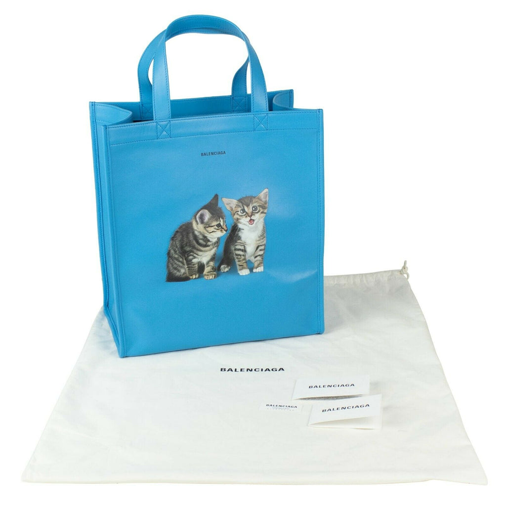 Balenciaga Blue Leather Kittens Shopper Tote Bag