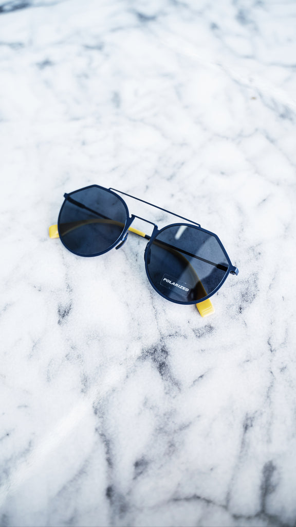 Fendi Blue Round Angular Sunglasses