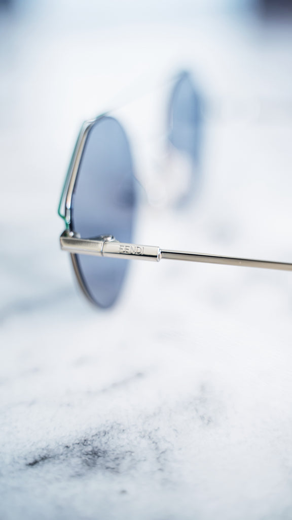 Fendi Silver Angular Round Sunglasses
