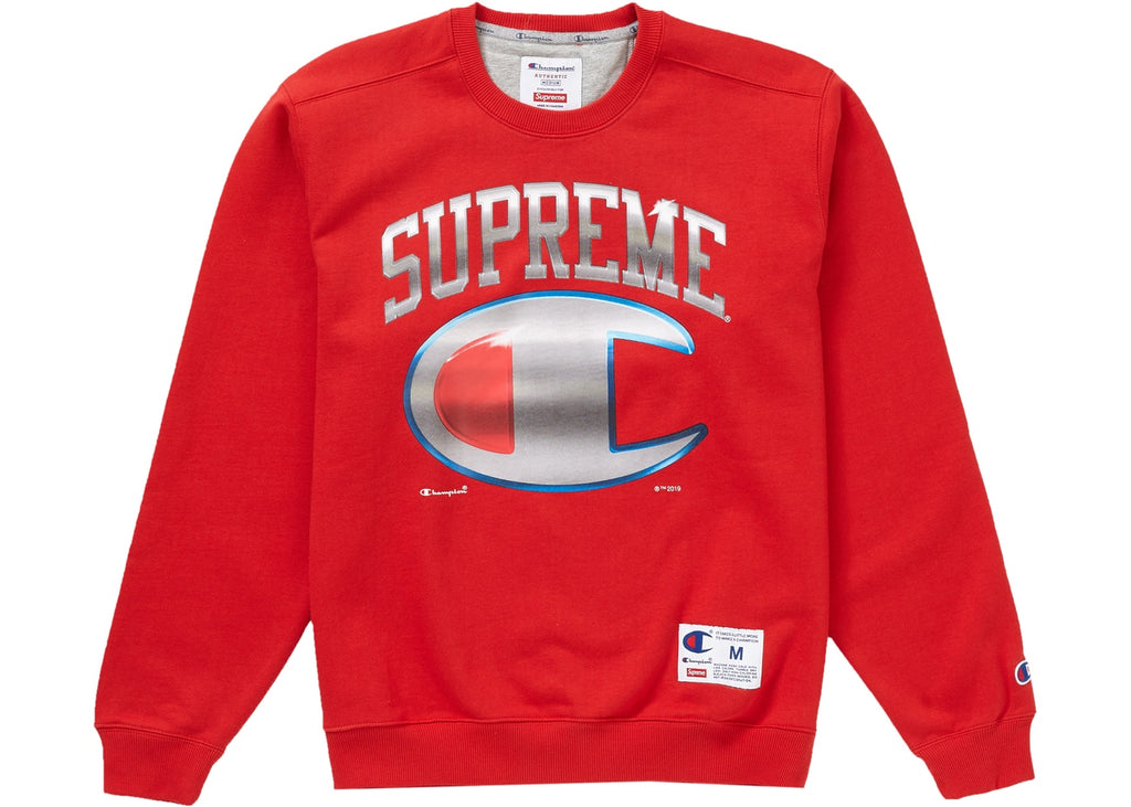 Supreme x Champion Chrome Crewneck, Red