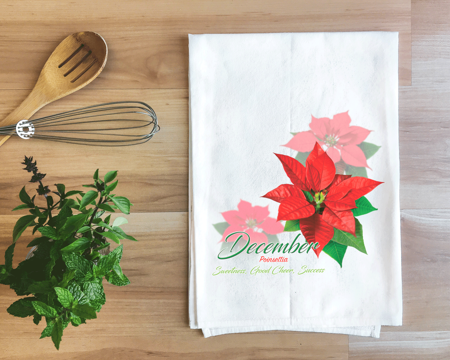 Poinsettia - December Flower Towel