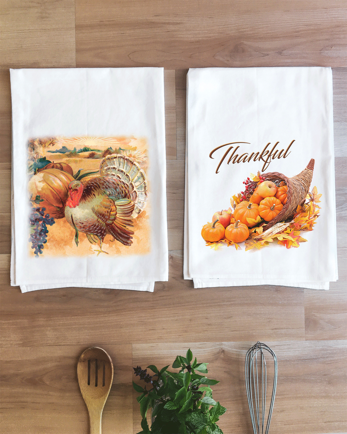 Painted Turkey Thanksgiving Towel