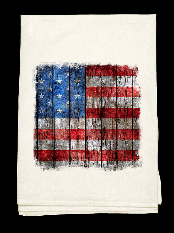 Vintage antique American flag on a flour sack cotton towel.