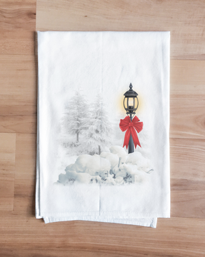 Lamplit Snow Christmas Towel