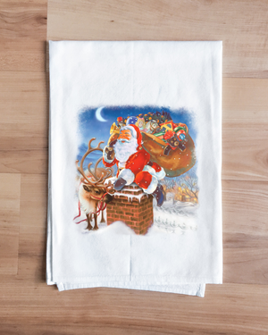 Down the Chimney Santa Towel
