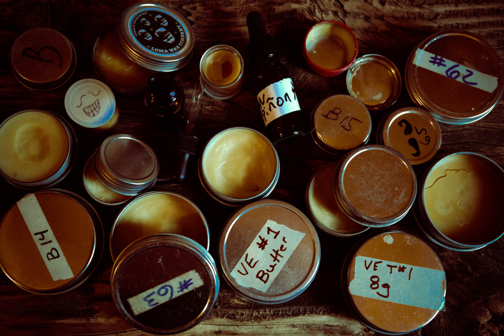 Beard Oil, Beard Balm, Mustache Wax and Hand Salve Test Tins