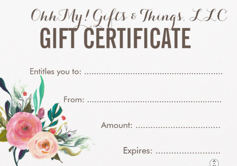 Gift Card - OhhMy! Gifts and Things, LLC