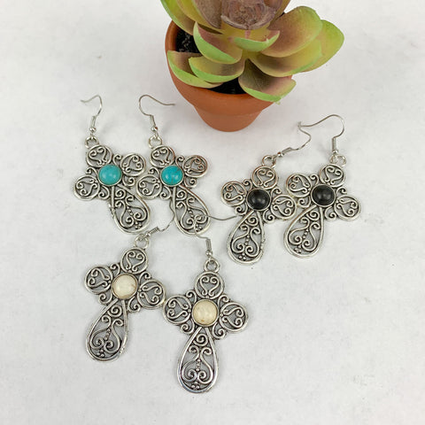 Earrings- silver with semi precious stones