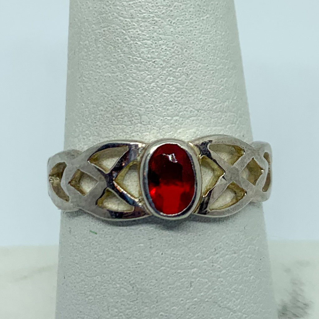 Ring: Sterling Silver Red Stone