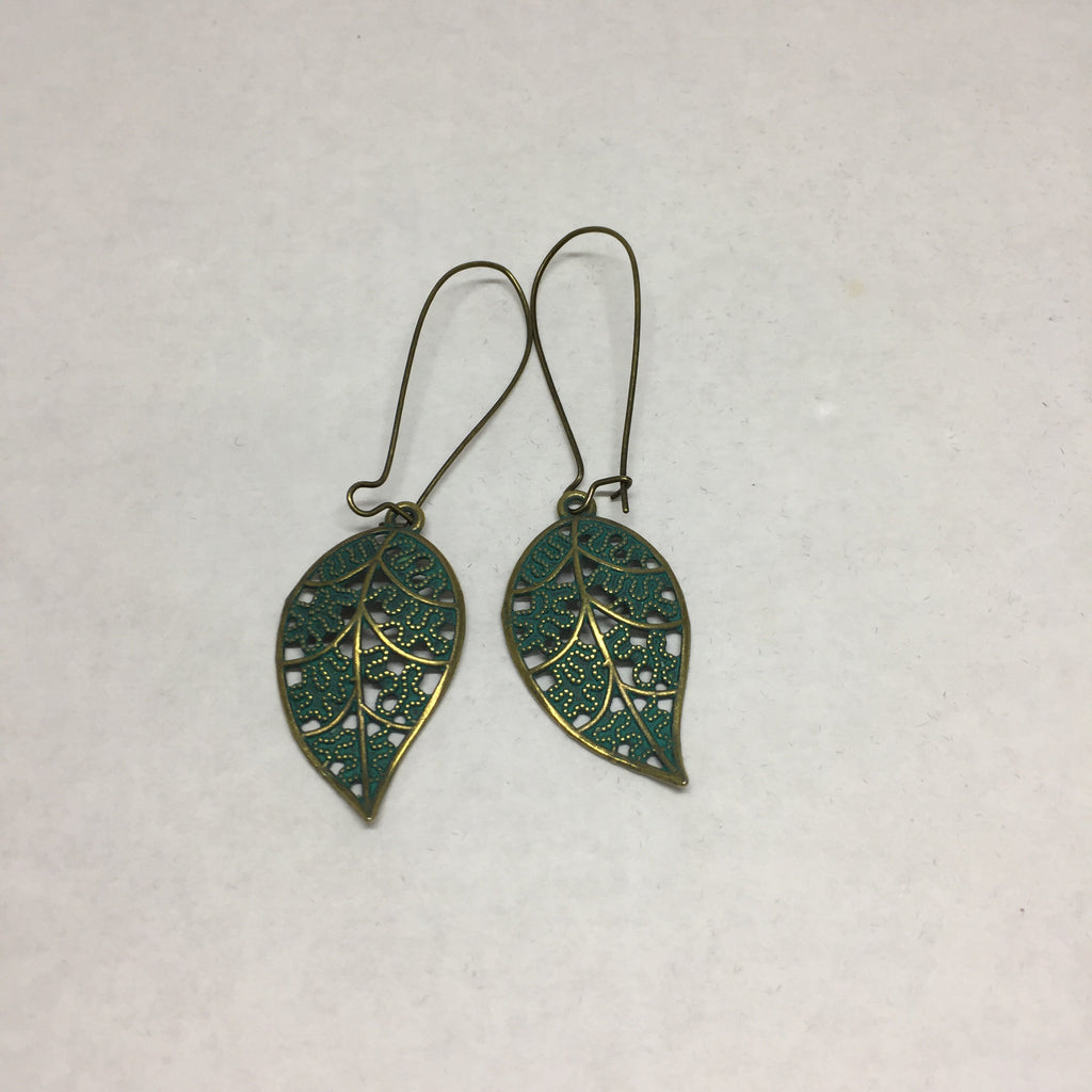 Earrings: dangle blue leaf earrings