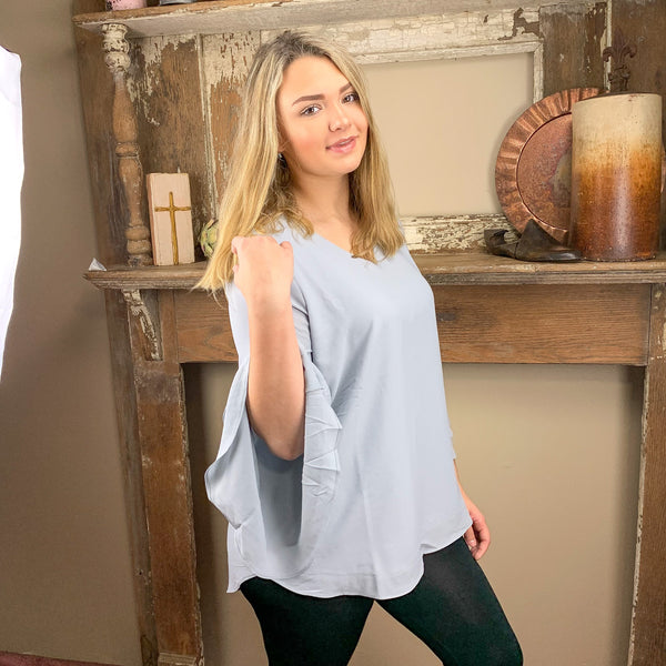 Top: Double Layered Sleeve Vneck