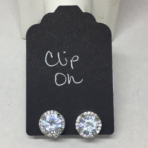 Earrings: Clip On Crystal Round