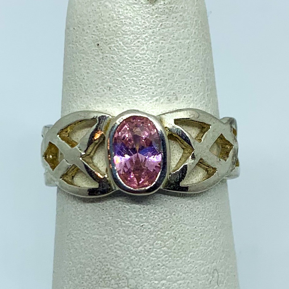 Ring: Sterling Silver Pink Stone