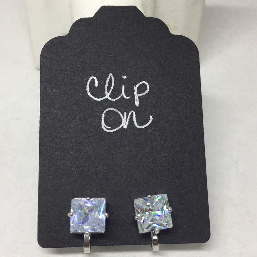 Earrings: Clear Crystal Cubes Silver