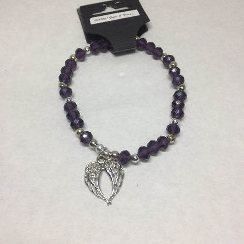 Bracelet:purple angel wing bracelet