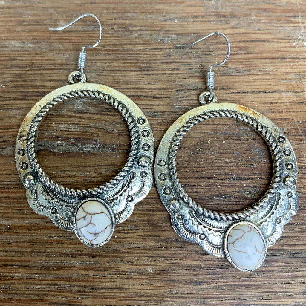 Silver earrings-white stone