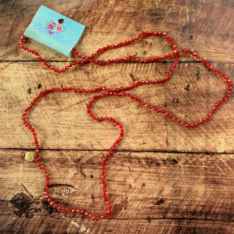 Necklace-red faceted bead
