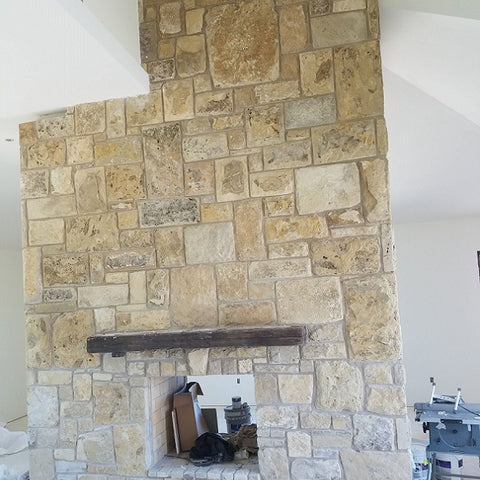 Native limestone fireplace in the Stone Lodge Hearth Room