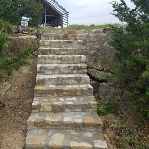 Native limestone staircase with Cedar Pavilion views