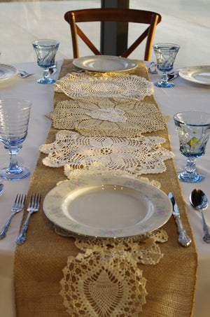Burlap Table Runners with Antique Doilies
