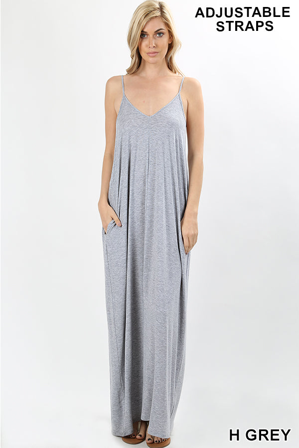Comfy casual Maxi dress with side pockets and adjustable straps