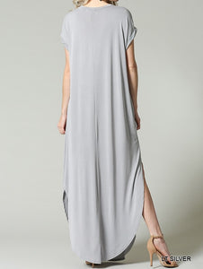 Maxi Dress with Rolled Up Cupro Sleeve