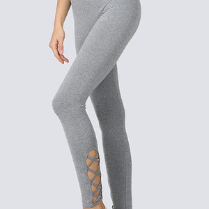 Seamless high waisted yoga legging with cross side detail