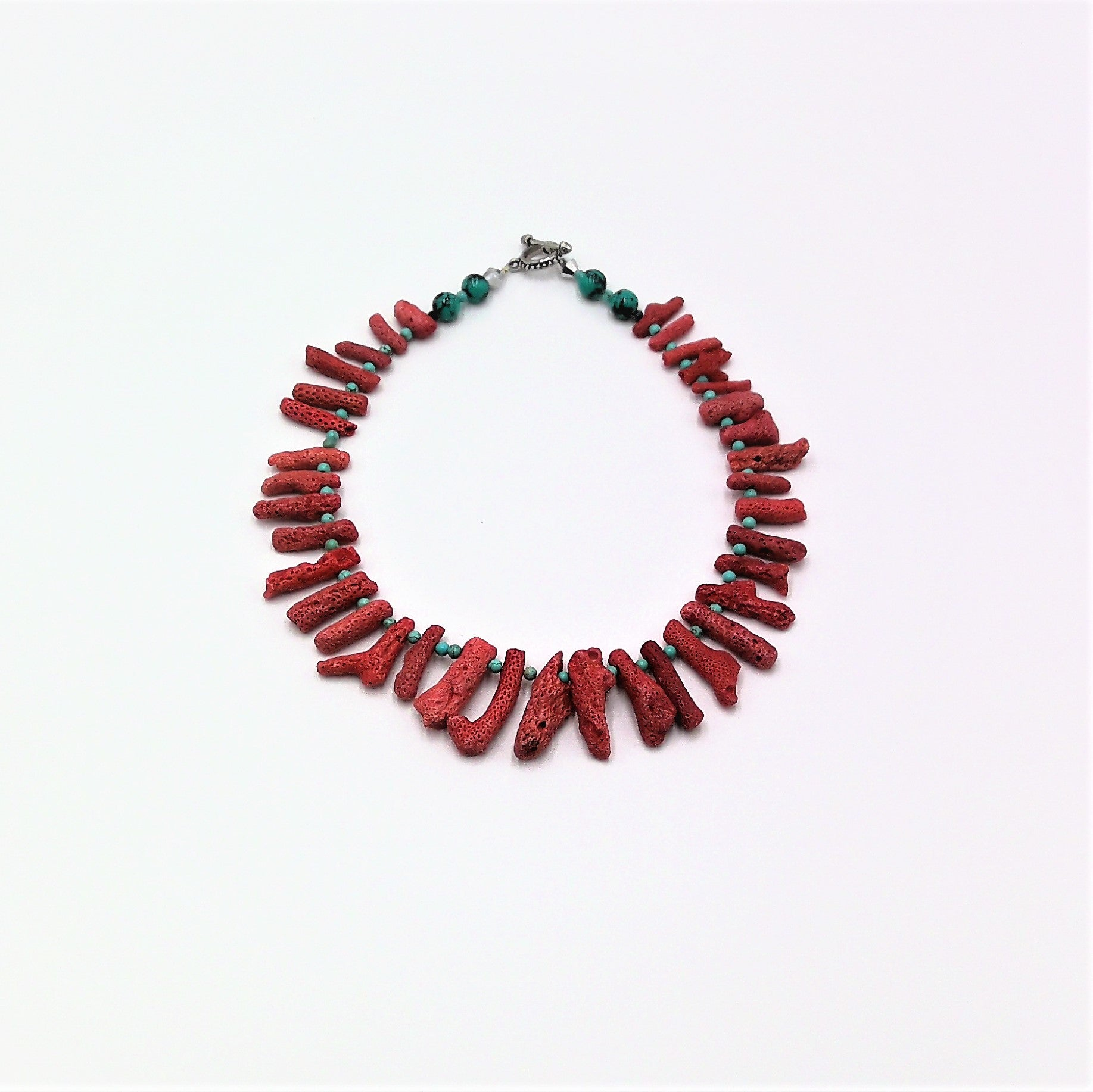 Red dyed Coral shell and turquoise bead Necklace