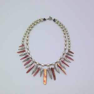 Elegant Mother of pearl two strand Necklace.