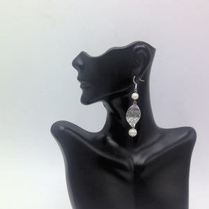 Silver Plated Leaf and Cultured Pearl Earrings