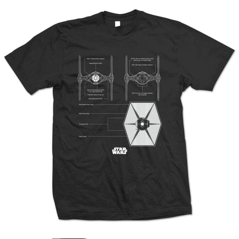Official Star Wars - Tie Fighter Design Motif T-Shirt - XL - Clothes Shoes & Accessories:Mens Clothing:Shirts & Tops:T-Shirts