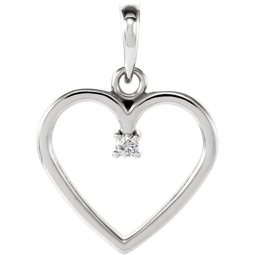 14K White .025 CTW Diamond Heart Pendant