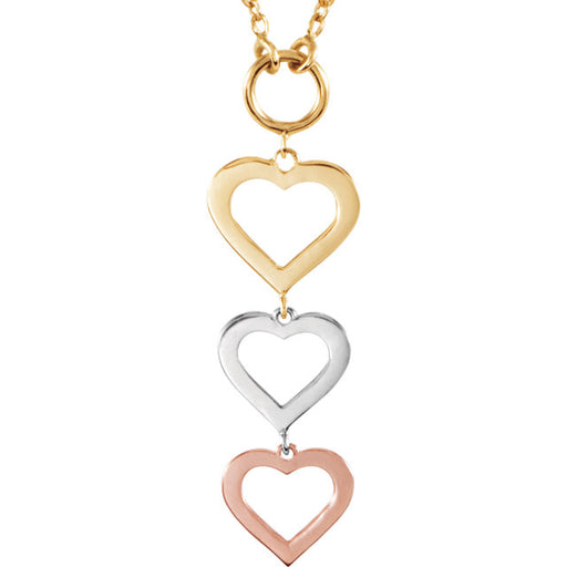 "14K Rose, Yellow & White Heart 18"" Necklace"