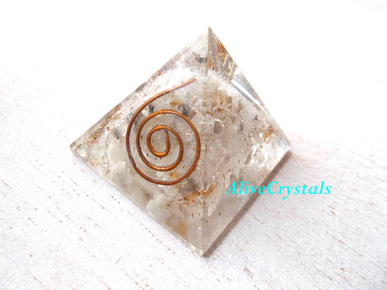 Moonstone Orgonite Pyramid, Meditation Pyramid, Intuition, Dream Recall
