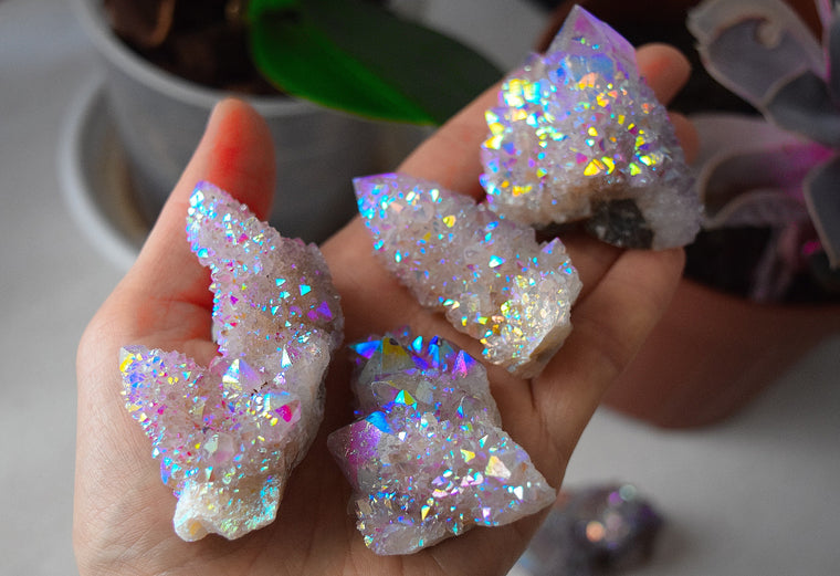 GORGEOUS Rainbow Aura Spirit Quartz Cluster, Spirit Cactus Quartz, Fairy Spirit Quartz For Sale