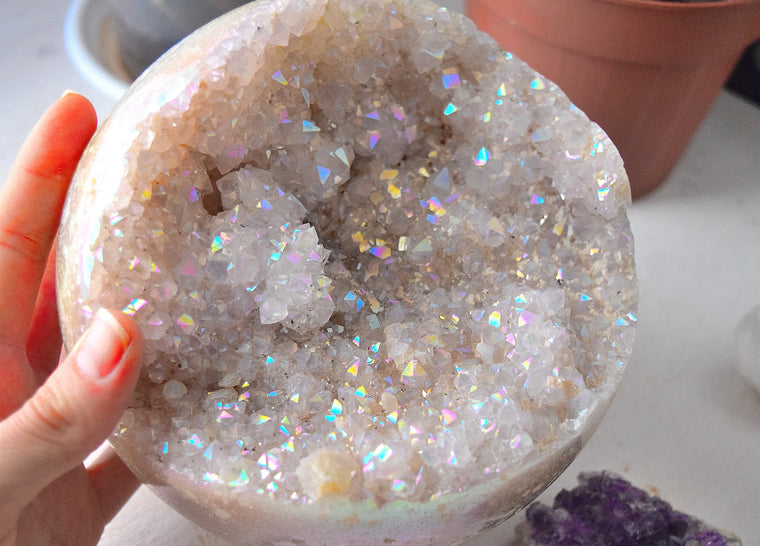 Angel Aura Quartz Crystal Geode Sphere