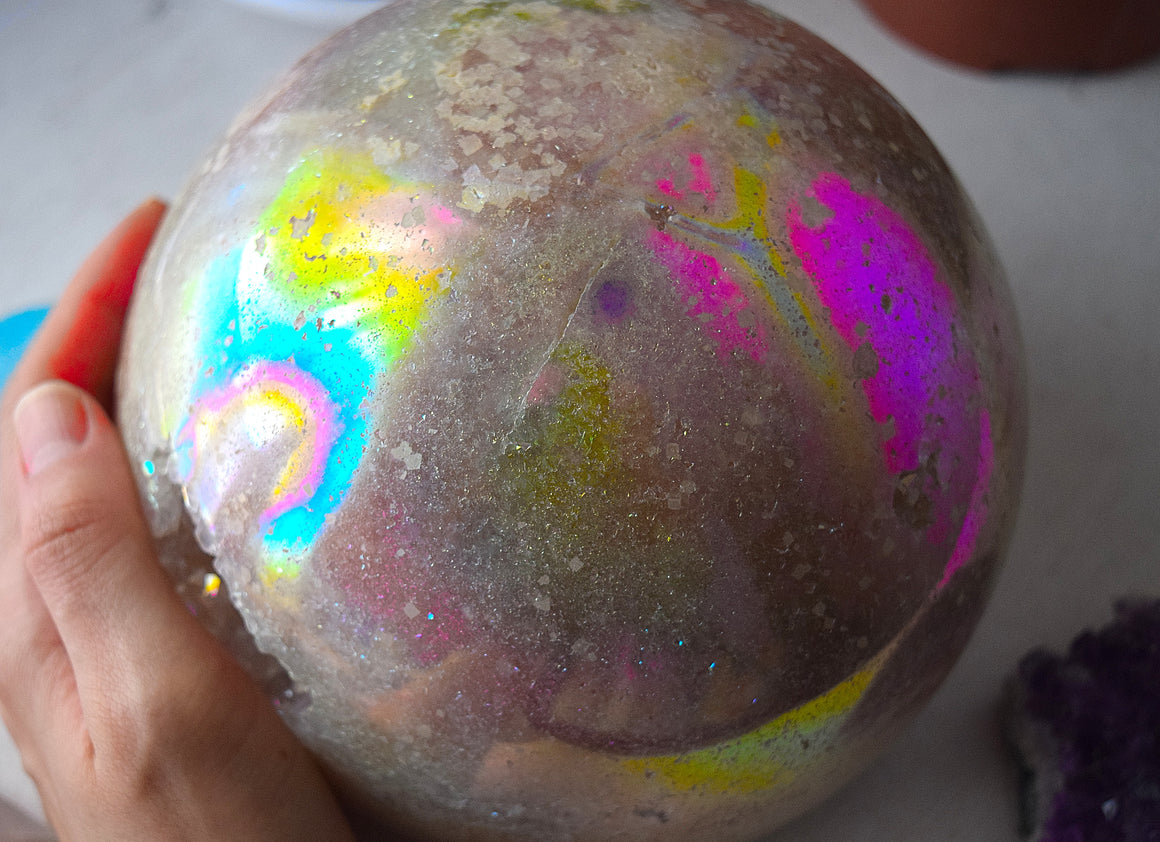 GIANT! Angel Aura Quartz Geode Sphere, Sugar Coated Aura Quartz Sphere- 8C
